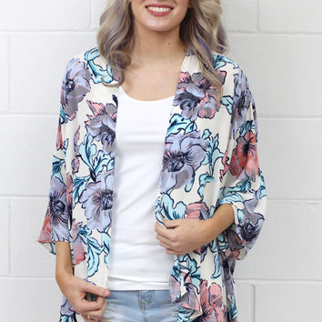 Watercolor Painted Floral Kimono {Ivory Mix}