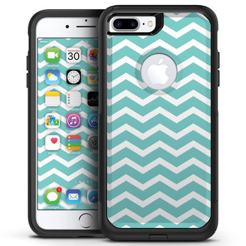 White and Teal Chevron Stripes - iPhone 7 or 7 Plus Commuter Case Skin Kit