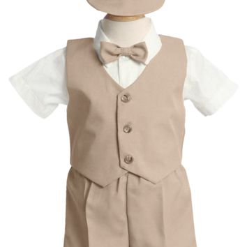 Khaki Tan Vest & Shorts Suit 5 Pc Easter Spring Outfit with Cap (Baby or Toddler Boys)
