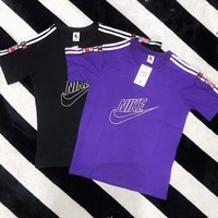 """""""Nike"""" Unisex Vintage Casual Letter Print Stripe Webbing Embroidery Short Sleeve Couple T-shirt Top Tee"""