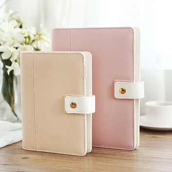 New Hot Korean A5 A6 Cute Macaron Leather Notebook Planner Spiral Big Size Binder Planner Notepad Diary Agenda Organizer Planner