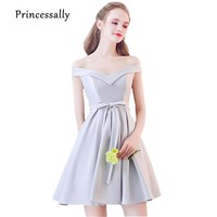 Robe Soiree 2017 New Elegant Bridesmaid Dresses Short Grey Sexy Boat Neck Satin Off Shoulder Cheap Homecoming Prom Party Gown