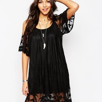 Boohoo Off The Shoulder Lace Insert Swing Dress