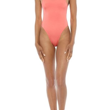 Elle High Cut One Piece Swimsuit - Coral Blush