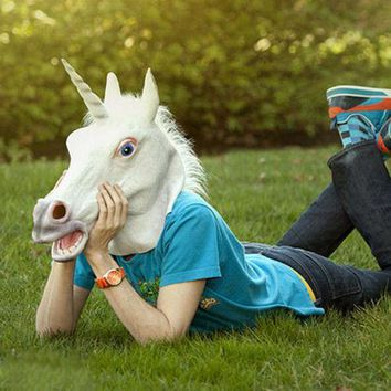 Adult Latex Unicorn Head Mask in White