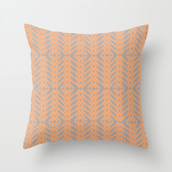 Peach and Gray Tribal Pattern Throw Pillow by Nikki Neri