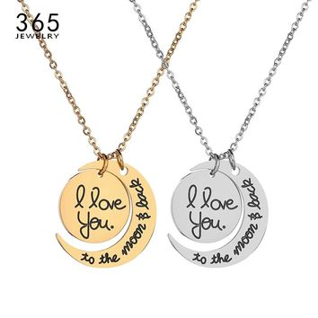 Promise Jewelry I Love You To The Moon And Back Pendant Necklace Stainless Steel Necklace For Couple Lovers Gift