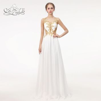QSYYE 2018 New Arrival Long Prom Dresses with Gold Lace Beaded Sexy Transparent Back Pleats Chiffon Formal Evening Dress Party