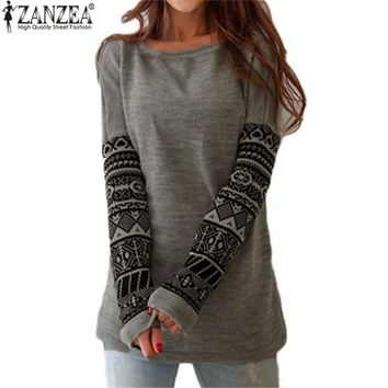 Zanzea 2017 Autumn Newest T Shirt Women O Neck Contrast Color Long Sleeve Tee Shirts Female Casual Loose Blusas Plus Size S-5XL