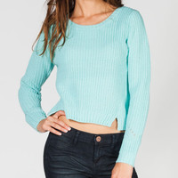 Full Tilt Shaker Stitch Womens Pointelle Crop Sweater Mint  In Sizes