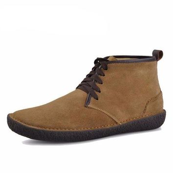 ONETOW Men's Suede Leather Bended Wool Classic Chukka Boots