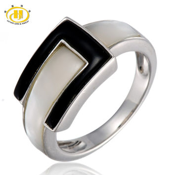 Mother of Pearl & Black Agate Solid 925 Sterling Silver Belt Buckle Rings Fine Jewelry For Women