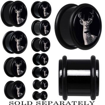 Wild Deer Single Flare Plug in Black Acrylic