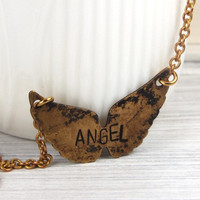 Angel Wings Hand Stamped Name Necklace Antiqued Brass