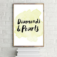 """PRINTABLE ART - One Poster """" Diamonds & Pearls """" 