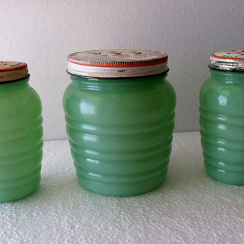 Vintage Fire King Tulip Lid Jadite Jadeite Grease Jar And Shakers Range Set