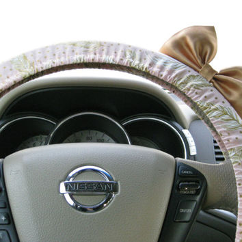 Steering Wheel Cover Bow Rose Quartz Pink & Gold Feathers Steering Cover Gold Bow, Pink Polka Dot Wheel Cover Gold Bow, Bronze Pink BF11257