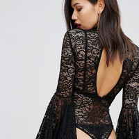 Club L Lace Bodysuit with Exaggerated Sleeves at asos.com