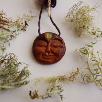 Dreaming Moon Pendant - Handcarved from an Avocado Stone - Sea Glass Third-Eye - Vegan Friendly - Earth Friendly