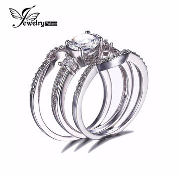 JewelryPalace 3 Stones 1.5ct Cubic Zirconia 3 Pcs Anniversary Wedding Band Engagement Ring Bridal Sets Real 925 Sterling Silver