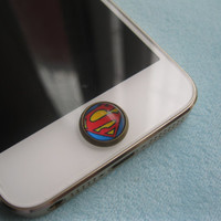 Retro Epoxy Superman Transparent Time Gems Alloy Cell Phone Home Button Sticker Charm or earphone jack  for iPhone 4 4s,5,5s