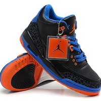 Cheap Air Jordan 3 Retro Men Shoes Black Blue Orange