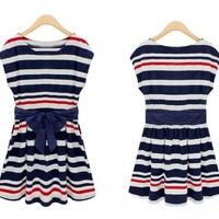 ZLCY Fashion Sleeveless Striped Sailor Dress with Bowknot for Women