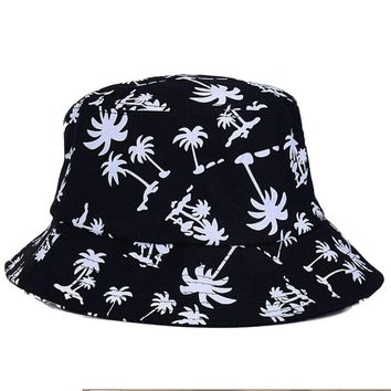 women Sunscreen fish hat large brimmed hat Canvas boy girl hats Graffiti Flat Bucket Coconut Tree Pattern Hat 56-58cm 4 colorus
