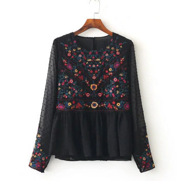 2017 Floral Embroidery Women Blouses O-Neck Long Sleeve Black Shirts Plus Size  Seersucker Chiffon Blouse BBWM16169
