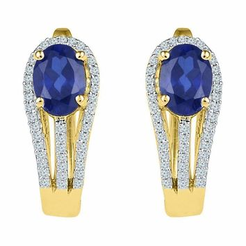 10kt Yellow Gold Women's Oval Lab-Created Blue Sapphire Diamond Hoop Earrings 2-5-8 Cttw - FREE Shipping (US/CAN)