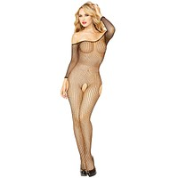 Sexy J-Law Off-Shoulder Fishnet Long Sleeve Open Bodystocking