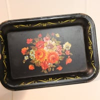 Tip Tray, Tin Black with Flowers, Trinket Tray, Jewelry Holder, Ring Dish, Business Card Holder, Candy Plate, Soap Dish FREE US Shipping