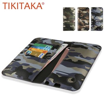 Universal Mobile Phone Cases For Iphone 7 6 5 Cover Fashion Camouflage Stand Wallet Leather Flip Case For Samsung Xiaomi Huawei