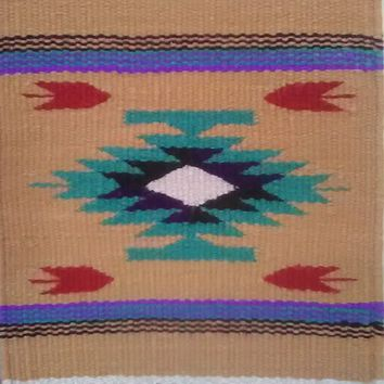 "Aztec Design Table Rug, #11, 10"" by 10"""
