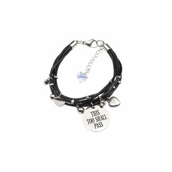Genuine Leather Bracelet made with Crystals from Swarovski - This too shall pass
