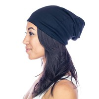 Grace Eleyae SLAPs - Black - Womens Soft Slouchy Satin Lined Beanie