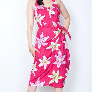 Sarong Pink Lily Pinup Halter Pinup Dress (2 Small Only!)