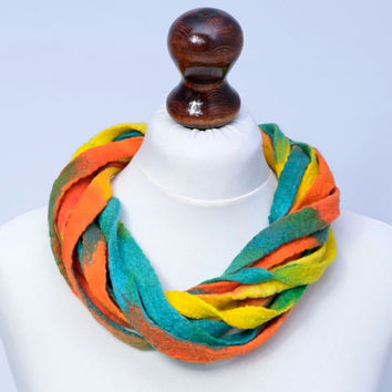 Bright fiber necklace with vivid colors and twist, multistrand, ribbon design - fiber, felt, multi strand, twisted jewelry [N104]