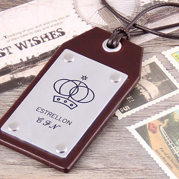 Handcrafted Leather Luggage Tag -  Custom Leather Tag - Leather Luggage Tag Anniversary - Groomsmen Luggage Tag