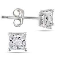 1/4 Carat Princess Cut Diamond Solitaire Earrings in 14K White Gold