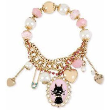 Betsey Johnson Black Cat Pearl and Charm Half Stretch Bracelet