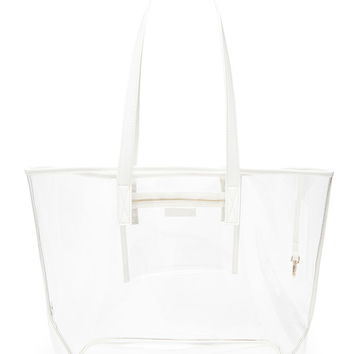 Faux Leather-Trim Clear Tote | Forever 21 - 1000171448