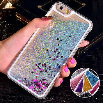 For iPhone 6S Case Glitter Bling Liquid Sand Star Quicksand Clear Hard Case For iPhone 6 Case 4 4S 5C 5S 6 Plus 7 7 Plus Cover
