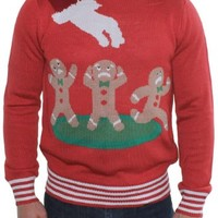 Ugly Christmas Sweater - Gingerbread Nightmare Sweater (Red) by Tipsy Elves - X-Small