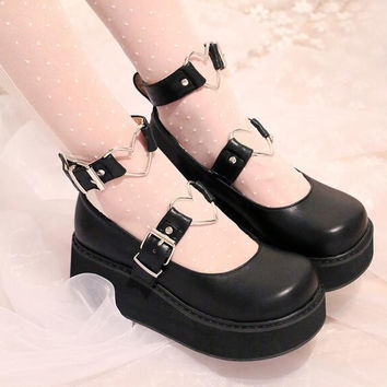 Ladies Cute Lolita Shoes Wedge Heel Heart Shaped Embellished Ankle Buckles 2017 New Round Toe Womens Pumps With Platform