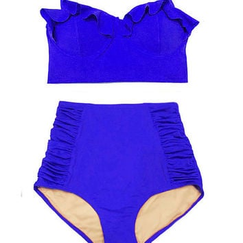 Blue Midkini Top and Ruched Highwaisted High Waisted Waist Pin up Classic Retro Swimsuit Swimwear Bikini set Swim Bathing suit wear S M L XL