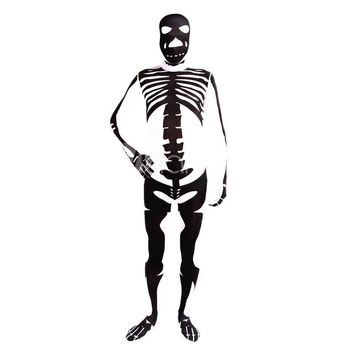 High Quality Adult/Children Halloween Black Skull Costumes Mens Human Skeleton Lycra Spandex Zentai Male Costume Full Bodysuit