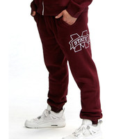 Mississippi State Bulldogs NCAA Mens Jogger Pant (Maroon) (Small)