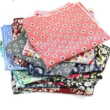 Vintage Floral Handkerchiefs Pocket Square