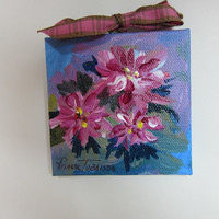 CIJ 3 Floral Christmas Ornament 3 x 3 inch Acrylic Original paintings Canvas  Holiday pink